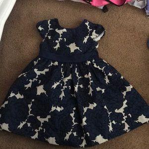 Little girls blue and tan dress size3